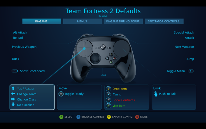 Steam Controller customization menu